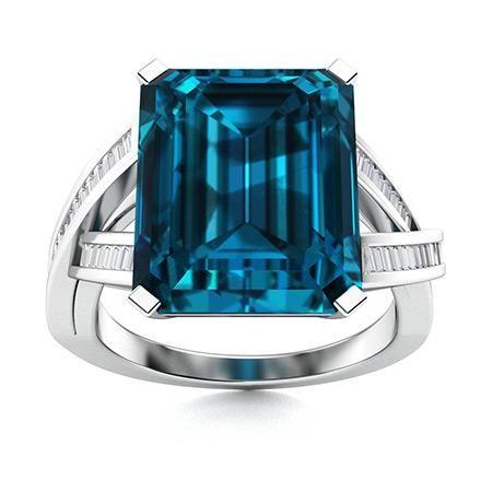 Natural 10.76 CTW Topaz & Diamond Engagement Ring 18K