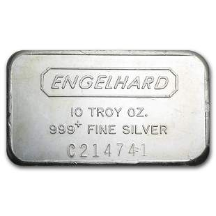 10 oz Silver Bar - Engelhard (Wide, Struck, Logo