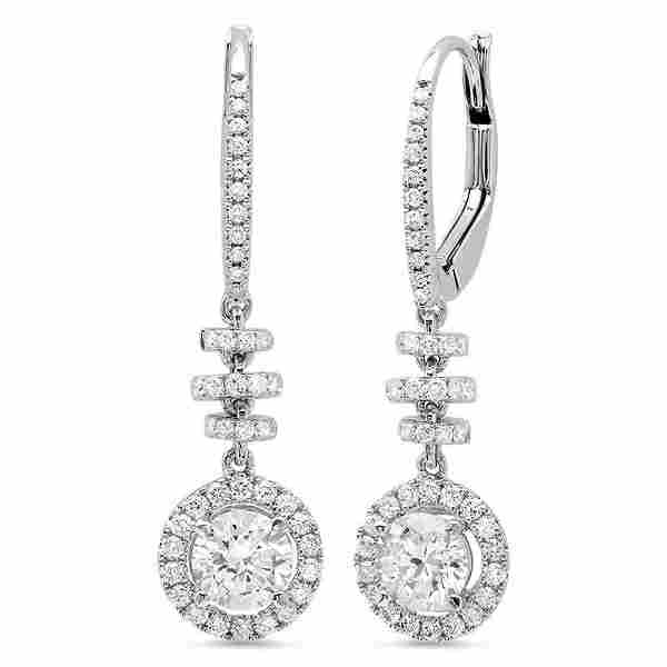 Natural 1.56 CTW Dangling U-Pave Lever Back Halo Round