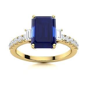Natural 2.57 CTW Sapphire & Diamond  Engagement Ring