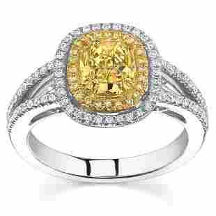 Natural 1.92 CTW Canary Yellow Cushion Cut Halo Diamond