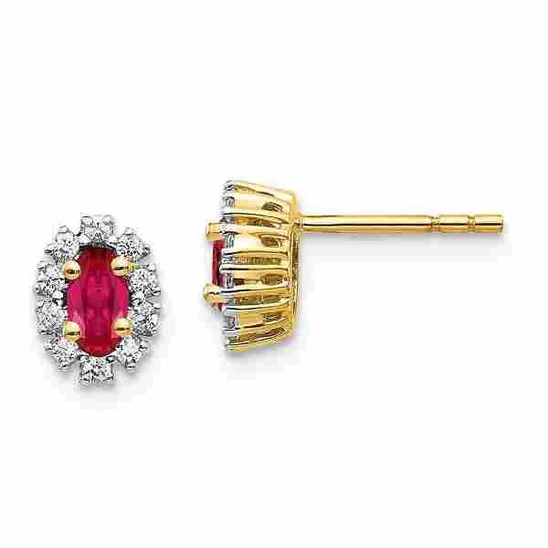 14k Yellow Gold .2ct Diamond Halo & Ruby Earrings - 7