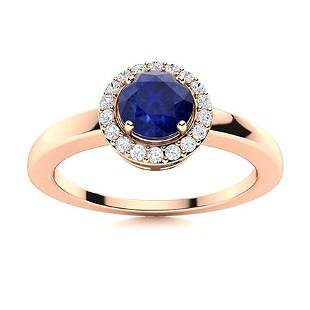 Natural 0.62 CTW Sapphire & Diamond Engagement Ring 14K