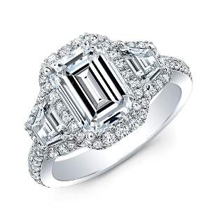 Natural 2.72 CTW Halo Emerald Cut & Trapezoids Diamond