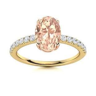 Natural 2.38 CTW Morganite & Diamond Engagement Ring