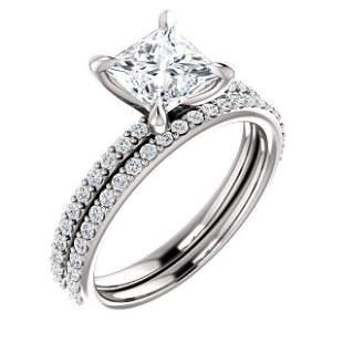 Natural 2.52 CTW Princess Cut Diamond Engagement Set