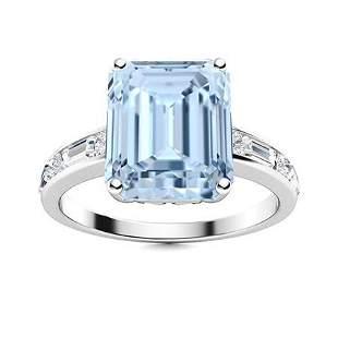 Natural 10.04 CTW Aquamarine & Diamond Engagement Ring