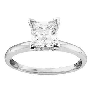 14kt White Gold Womens Princess Diamond Solitaire