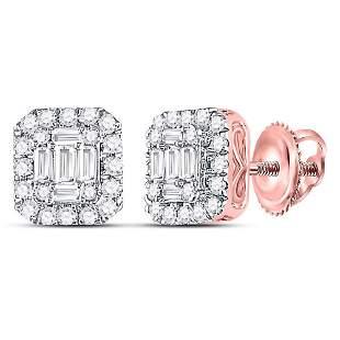 14kt Rose Gold Womens Baguette Diamond Square Cluster