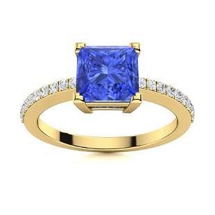 Natural 1.68 CTW Ceylon Sapphire & Diamond Engagement