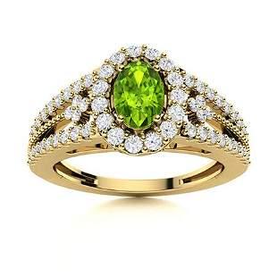 Natural 0.85 CTW Peridot & Diamond Engagement Ring 14K