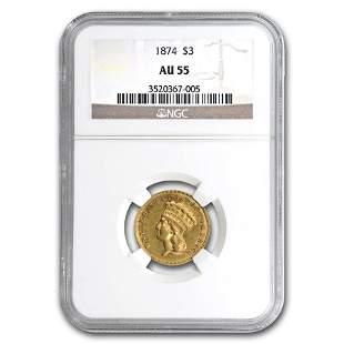 1874 $3 Gold Princess AU-55 NGC