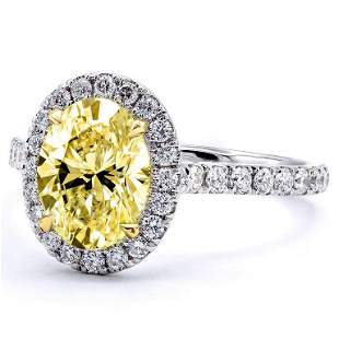 Natural 2.12 CTW Halo Canary yellow Oval Cut Diamond