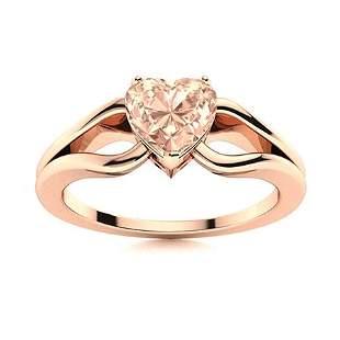Natural 0.71 CTW Morganite Solitaire Ring 14K Rose Gold