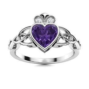 Natural 0.43 CTW Amethyst & Diamond Engagement Ring 14K