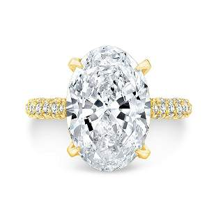 Natural 4.22 CTW Halo Oval Cut Diamond Engagement Ring