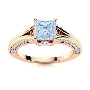 Natural 1.44 CTW Aquamarine & Diamond Engagement Ring