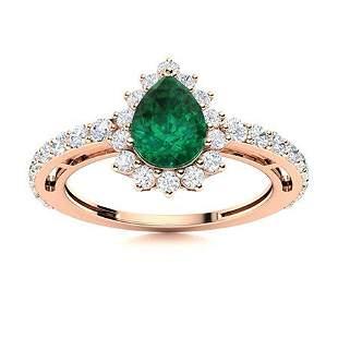Natural 1.36 CTW Emerald & Diamond Engagement Ring 14K