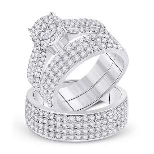 14kt White Gold His Hers Diamond Cluster Matching