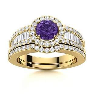 Natural 1.38 CTW Amethyst & Diamond Engagement Ring 14K