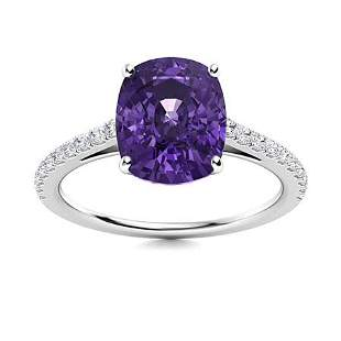 Natural 4.49 CTW Amethyst & Diamond Engagement Ring 18K