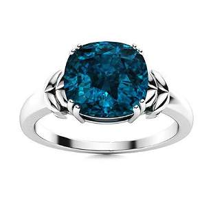 Natural 1.42 CTW Topaz Solitaire Ring 14K White Gold