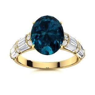 Natural 4.45 CTW Topaz & Diamond Engagement Ring 18K
