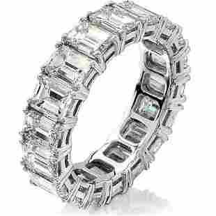 Natural 7.02 CTW Emerald Cut Diamond Eternity Ring 14KT