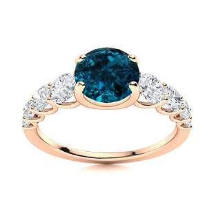 Natural 1.78 CTW Topaz & Diamond Engagement Ring 18K