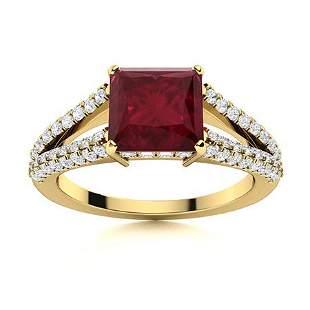 Natural 1.60 CTW Ruby & Diamond Engagement Ring 18K