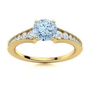 Natural 1.30 CTW Aquamarine & Diamond  Engagement Ring