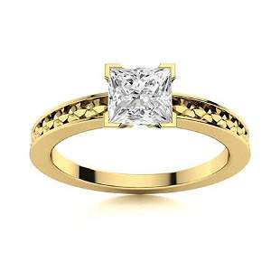 Natural 0.72 CTW Diamond Solitaire Ring 18K Yellow Gold