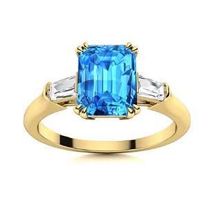 Natural 3.69 CTW Topaz & Diamond Engagement Ring 18K