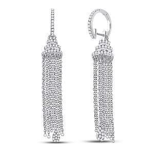 14kt White Gold Womens Round Diamond Chain Teardrop