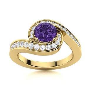 Natural 1.10 CTW Amethyst & Diamond Engagement Ring 18K
