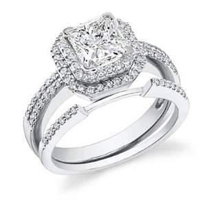 Natural 1.62 CTW Double Halo Princess Cut Diamond
