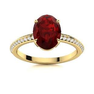 Natural 1.49 CTW Garnet & Diamond Engagement Ring 18K