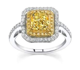 Natural 2.12 CTW Canary Yellow Radiant Cut Diamond Ring