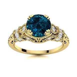 Natural 1.55 CTW Topaz & Diamond Engagement Ring 14K