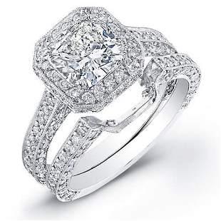 Natural 4.37 CTW Halo Cushion Cut Diamond Engagement