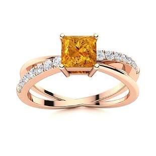 Natural 1.12 CTW Citrine & Diamond Engagement Ring 18K