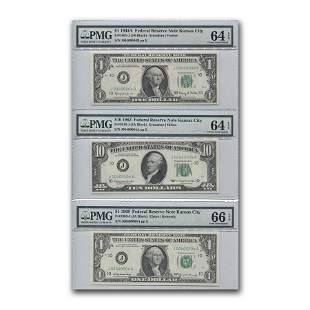1963-1969 Trio of FRN Notes Unc 64-66 PMG (Same Serial