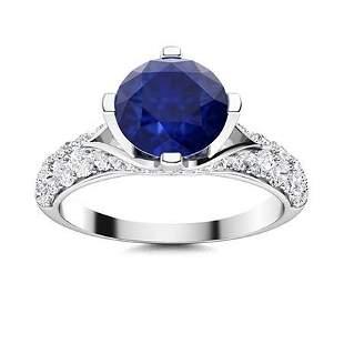 Natural 2.13 CTW Sapphire & Diamond Engagement Ring 14K