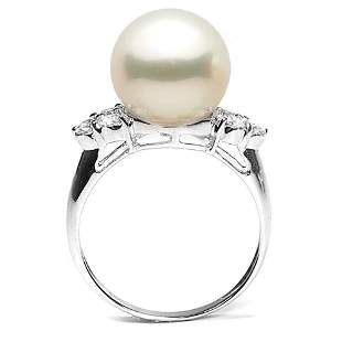 White South Sea Pearl and Diamond Anniversary Ring