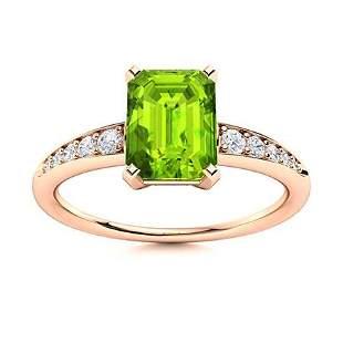 Natural 0.71 CTW Peridot & Diamond Engagement Ring 18K