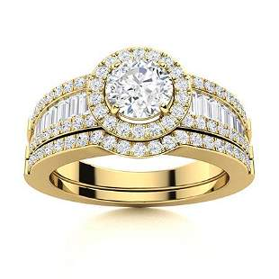 Natural 1.43 CTW Diamond Solitaire Ring 14K Yellow Gold