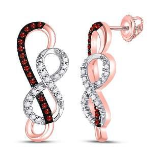 Red Color Enhanced Diamond Infinity Earrings 1/6 Cttw