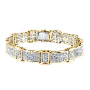 Mens Diamond Rectangle Link Bracelet 2-5/8 Cttw 10kt