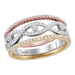 Diamond Stackable Rope Band Ring 3-Piece Set 1/3 Cttw