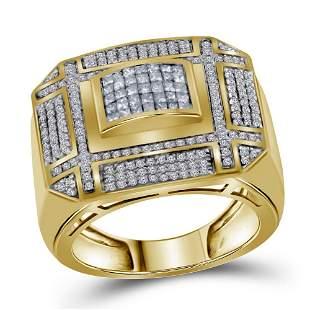 Mens Princess Diamond Grid Cluster Ring 1 Cttw 14kt